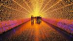 Kỳ ảo đường hầm ánh sáng ở xứ sở hoa anh đào