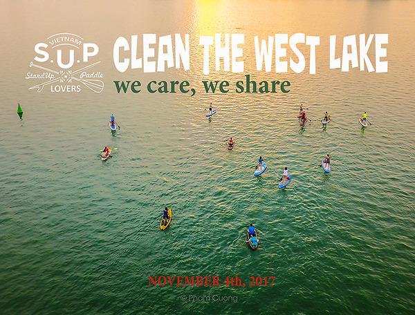 SUPer của Vietnam SUP Lover tham ra vào sự kiện Clean The West Lake